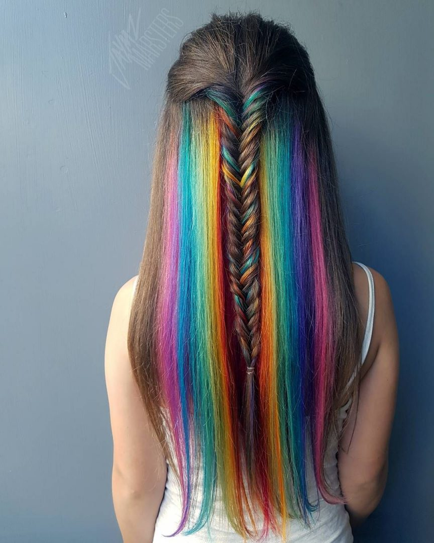 An Alluring Mermaid Braid With Rainbow Color
