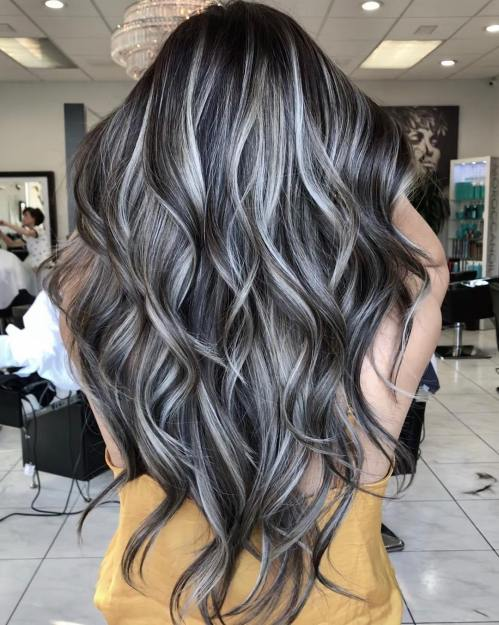 Black Hair With Gray And Silver Highlights