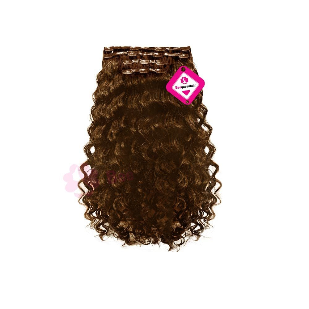 Clip In Deep Wavy Dark Brown 01
