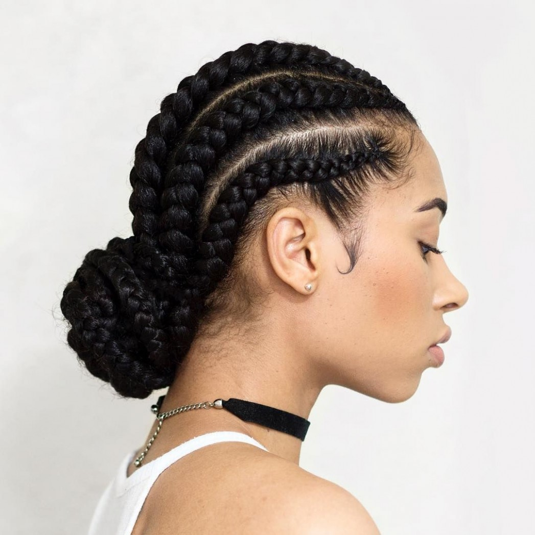 Cornrow Braids With A Low Bun