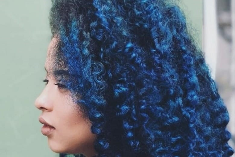 Curly Hair With Dark Blue