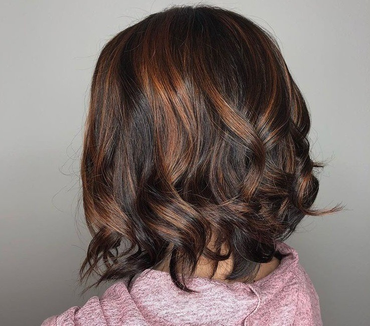 Dark Brown Hair With Cinnamon Highlights