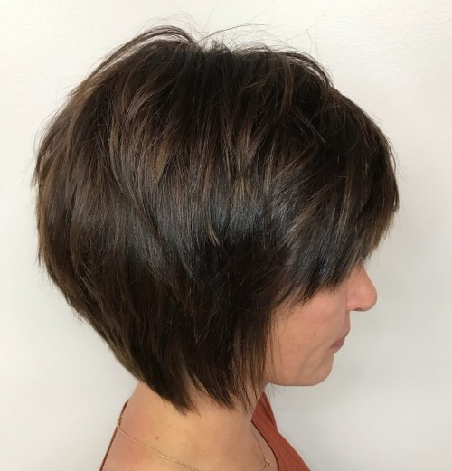 Dark Brown Layered Bob With Side Swept Bangs