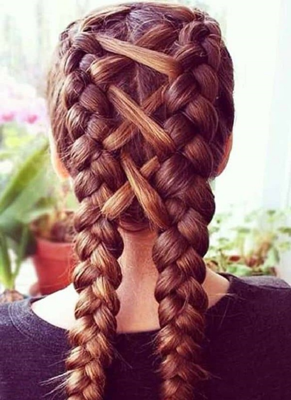 Dutch Braids With Cross Pattern