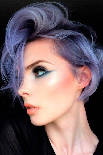 Gray Hair With Lavender Highlights