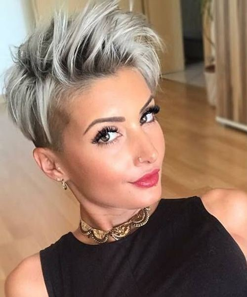 Grey Pixie Cut Dark Roots