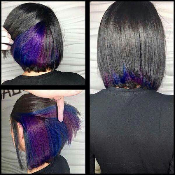 Hidden Rainbow Hair Color For Short Hair