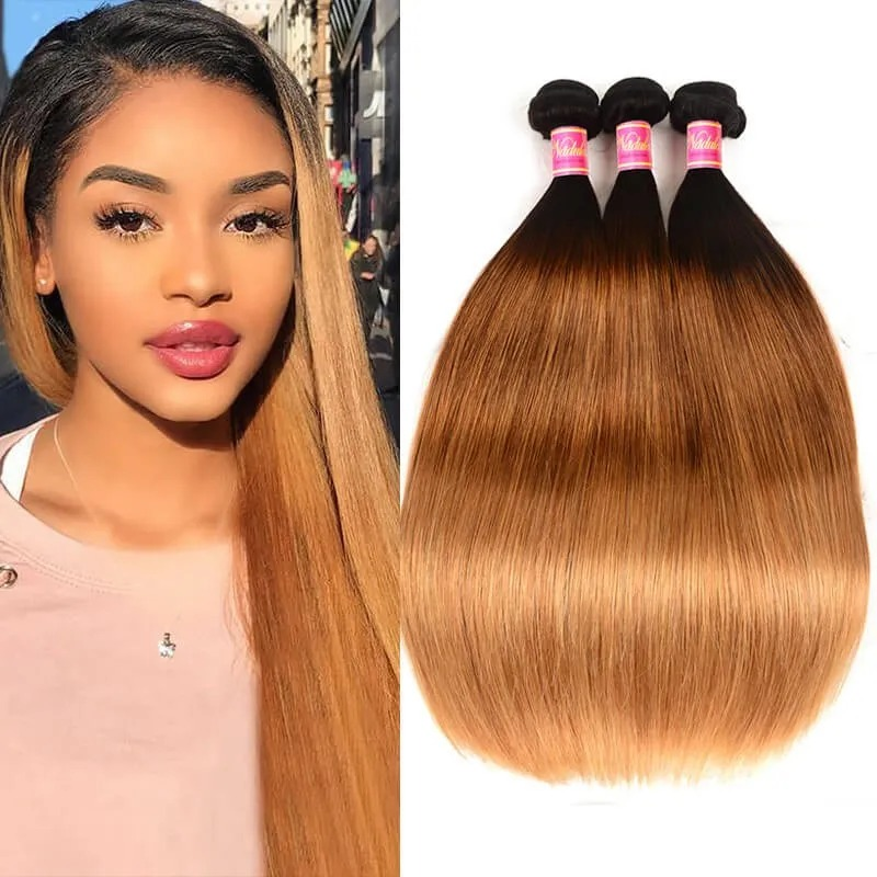 Blonde Straight With Middle Part Hairstyle