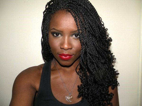 Left Side Curly Micro Braids Hairstyles