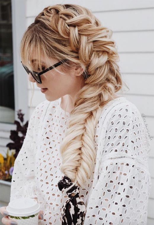 Long Messy Side Braid