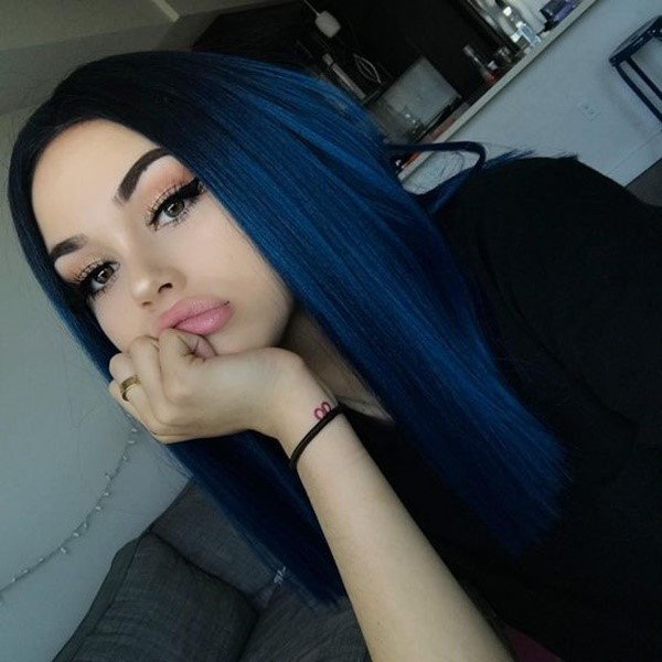 Long Straight Hair With Dark Blue