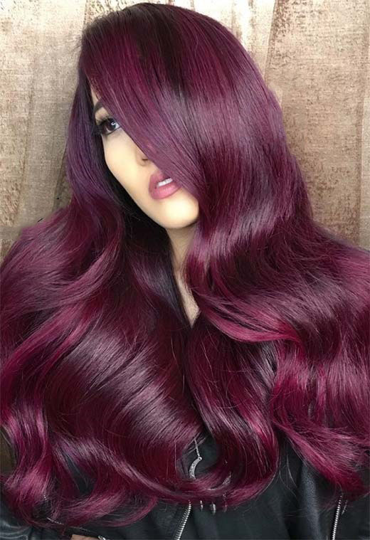 Long Wavy Red Plum Hair Colors