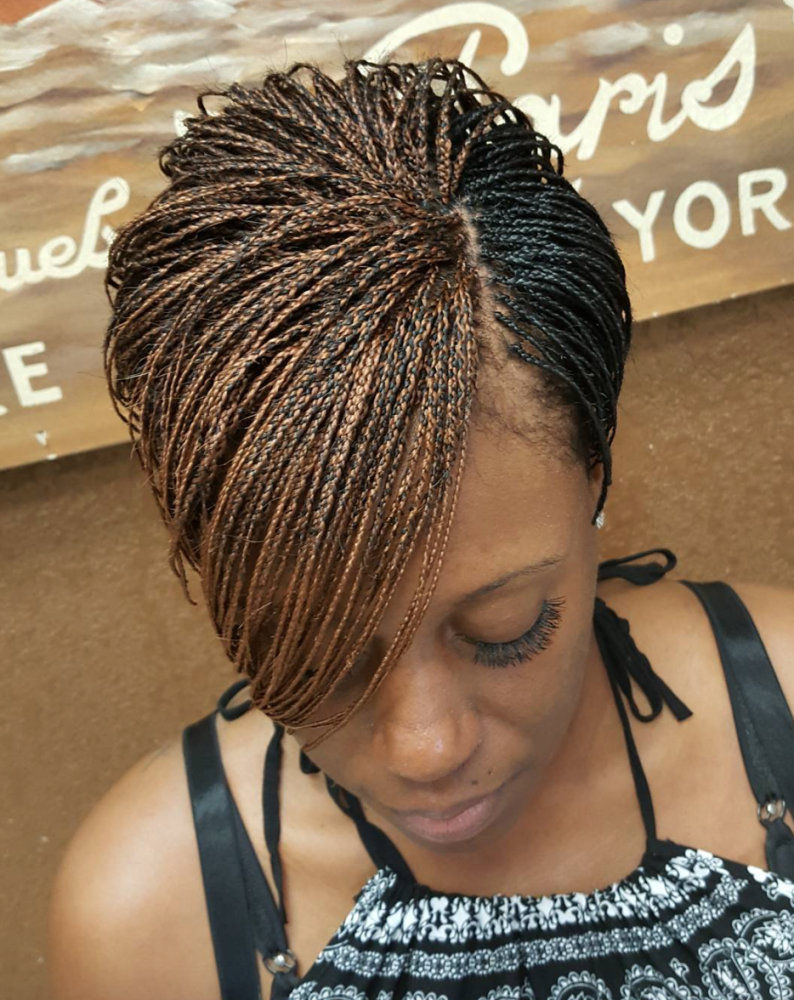 Micro Braid With Brown And Black Highlight