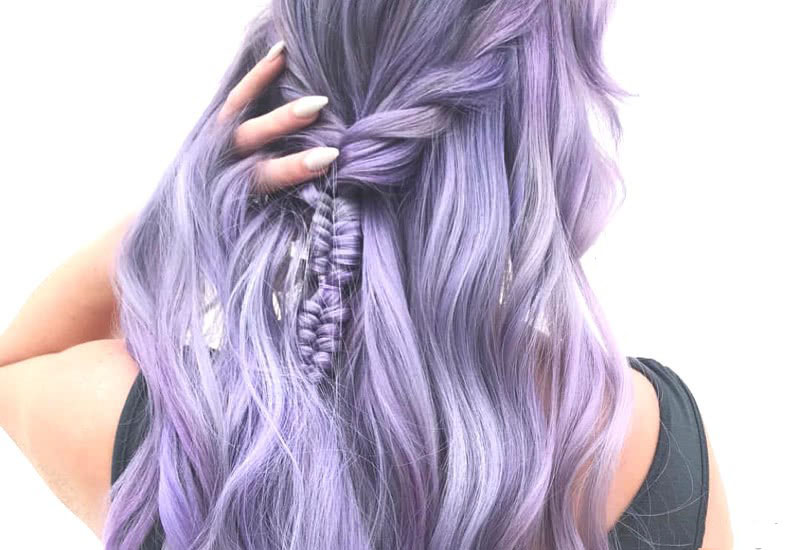 Pastel Purple Color For Long Hair