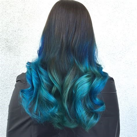 Peacock Ombre With Dark Roots