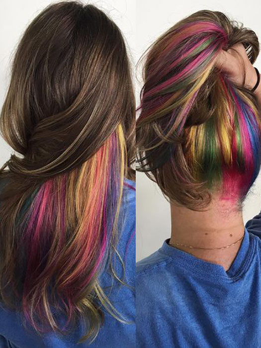 Rainbow Hair Color Underneath