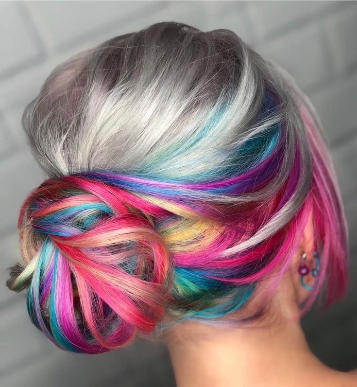Rainbow Hair Color With Gray