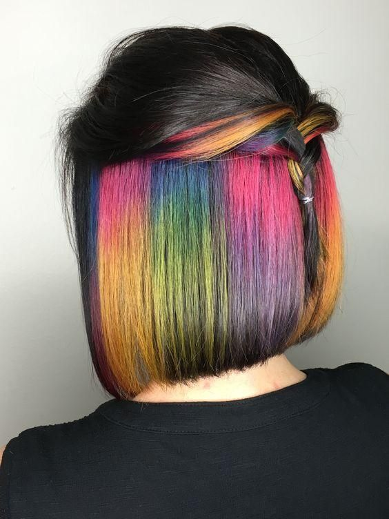 Short Hair Hidden Rainbow Color