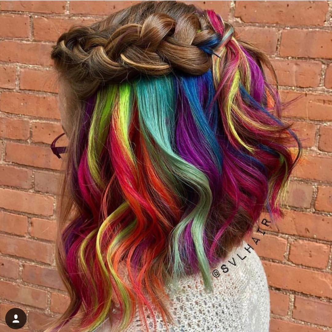 Short Wavy Hair With Rainbow Color