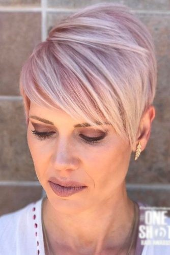 Side Swept Pixie In Light Purple Color