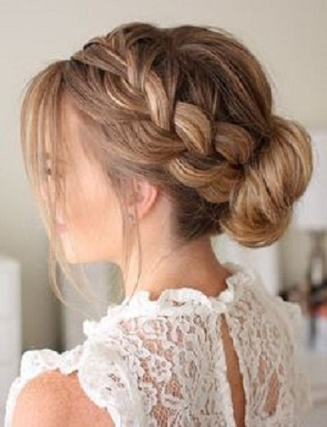 Sided French Braid With Low Bun