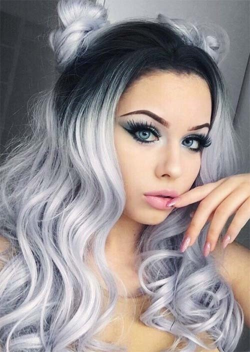 Silver Ombre With Dark Roots