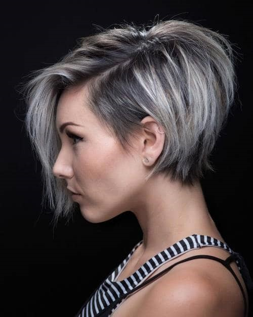 Straight Pixie Bob With Gray Highlights