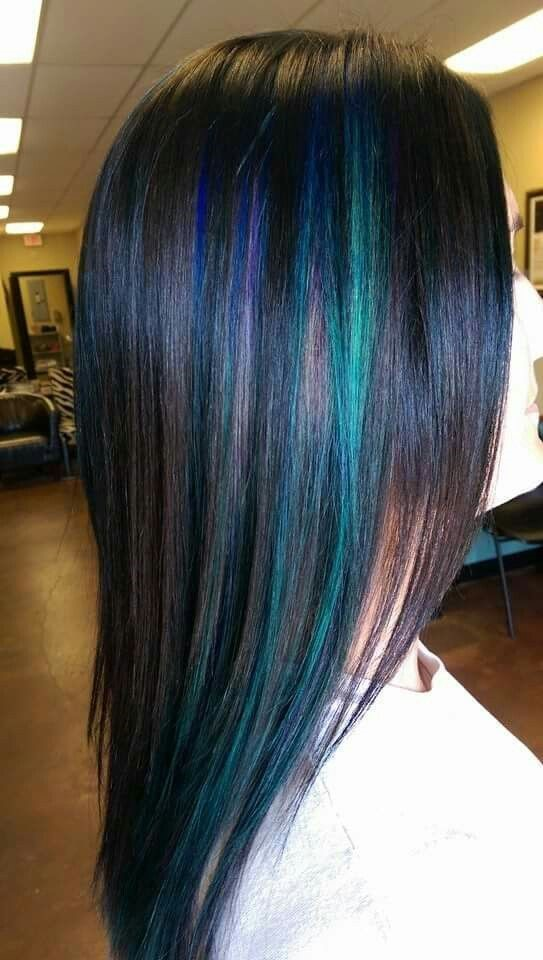 Subtle Peacock Highlights On Black Straight Hair